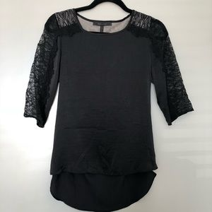 BCBGMaxAzria black silk & lace top XS exposed back